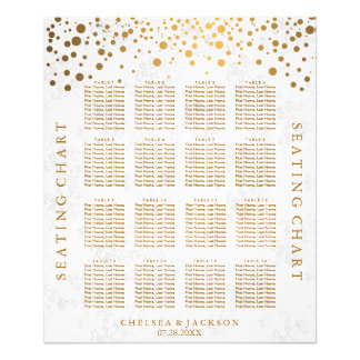 Trendy Gold Dots on Texture Damask - Seating Chart Photo Print