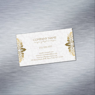 Trendy Gold Swirly Lace On Plush White Damasks Magnetic Business Cards