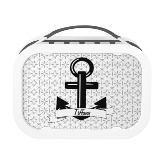 Trendy Gray & White Damask Personalized Anchor Lunch Box