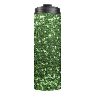 Trendy Green Glitter Faux Glitter Sparkle Thermal Tumbler
