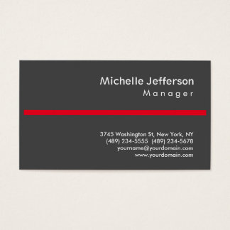 Trendy Grey Red Stylish Manager Business Card