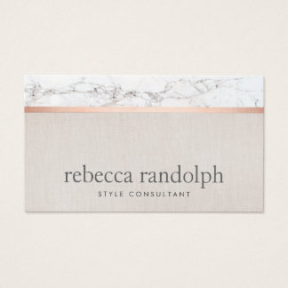 Trendy Hair Stylist Rose Gold Marble  Beige Business Card