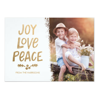 Trendy Hand Lettered Gold Joy Love Peace Card 13 Cm X 18 Cm Invitation Card