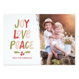 Trendy Hand Lettered Joy Love Peace Christmas Card 13 Cm X 18 Cm Invitation Card