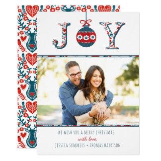 "Trendy ""Joy"" Boho Bauble Photo Christmas Card"
