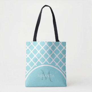 Trendy Large Aqua Quatrefoil Monongram and Name Tote Bag