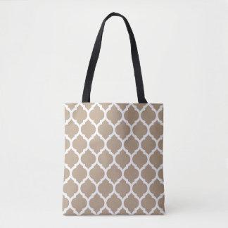 Trendy Light Cream Moroccan quatrefoil Pattern Tote Bag