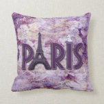 Trendy Lilac Paris Eiffel Tower Accent Pillow