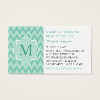 Trendy Mint Chevron Zigzag Monogram Hair Boutique Business Card