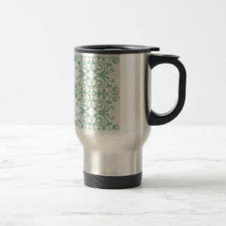 Trendy Mint Green Damask Pattern Travel Mug