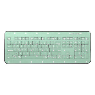Trendy Mint Green Polka Dots Wireless Keyboard