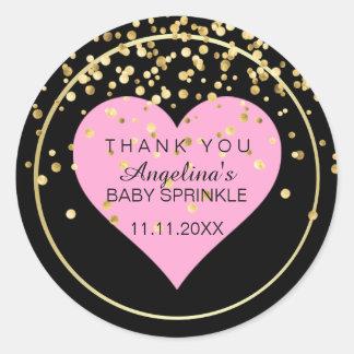 Trendy Modern Baby Pink Heart Black Gold Sprinkle Classic Round Sticker