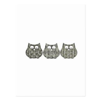 Trendy modern  cute funny owls postcard