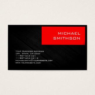 Trendy Modern Red Stripe Grey Business Card