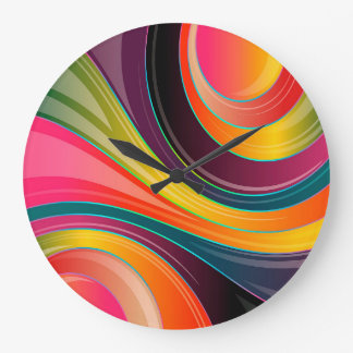 Trendy Multi Color Abstract Whirl Design Large Clock