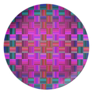 Trendy Multicolored Mosaic Tile Pattern Party Plate