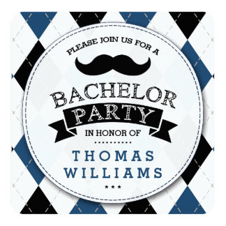 Trendy Mustache Bachelor Party Invitations