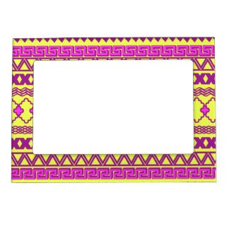 Trendy Neon Yellow Pink Tribal Aztec Pattern Magnetic Frame
