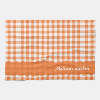 Trendy Orange And White Gingham Pattern Towel