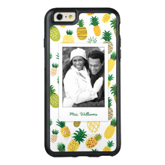 Trendy Pineapple Pattern | Add Your Photo & Name OtterBox iPhone 6/6s Plus Case