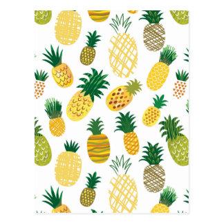 Trendy Pineapple Pattern Postcard
