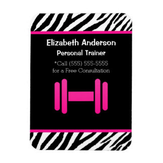 Trendy Pink and Black Dumbbell Personal Trainer Magnet