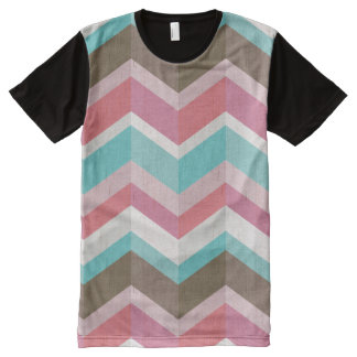Trendy Pink Blue White and Brown Chevron Pattern All-Over Print T-Shirt