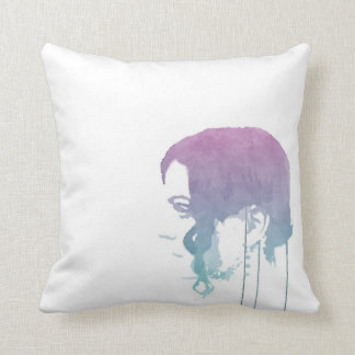 Trendy Pink/Cyan Watercolour Drawing Cushion