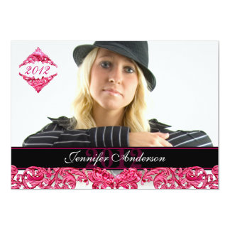 "Trendy pink flourish GRAD | Graduation Invitation 5"" X 7"" Invitation Card"
