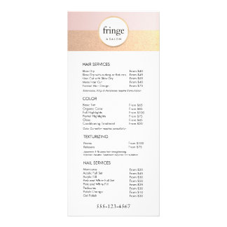 Trendy Pink Gold Salon Spa Price List Service Menu