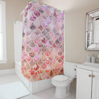 Trendy Pink Ombre Glitter Mermaid Fish Scales Shower Curtain