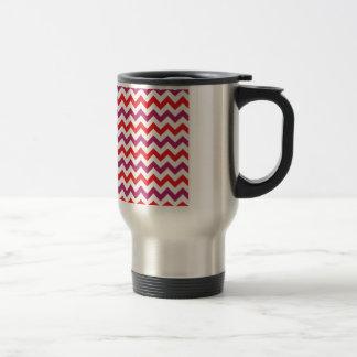 Trendy Pink & Orange Chevron Pattern Coffee Mugs