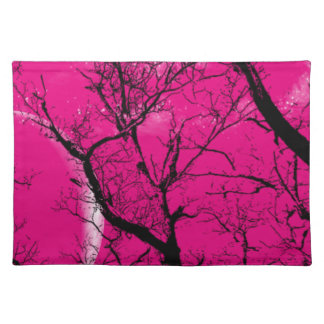 "Trendy Placemat abstract ""hot pink"" moon tree"