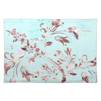 Trendy Placemat aqua pink abstract birds