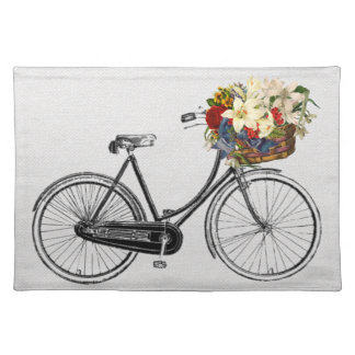 Trendy Placemat bicycle flower bike