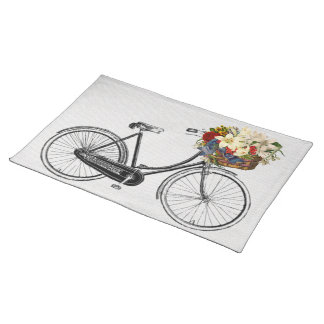 Trendy Placemat bicycle flower bike white