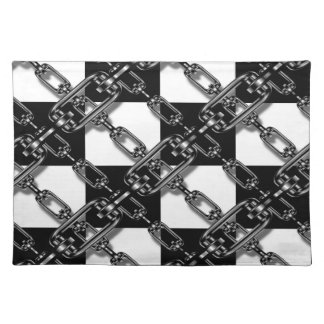 Trendy Placemat Gingham chain link black white