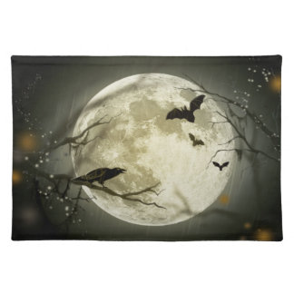 Trendy Placemat  Halloween moon bat autumn stars