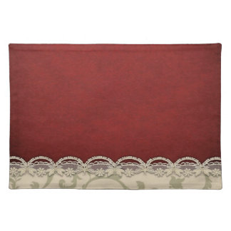 Trendy Placemat red Merlot ivory scroll