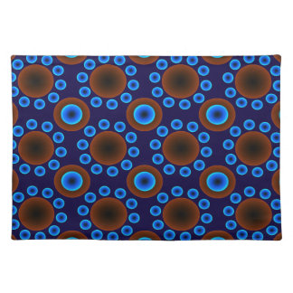 Trendy Placemat   retro blue brown dots