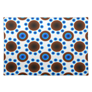 Trendy Placemat   retro blue white  brown dots