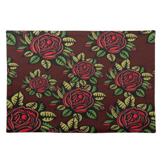 Trendy Placemat Retro red roses abstract pretty