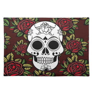 Trendy Placemat Retro red roses  sugar skull