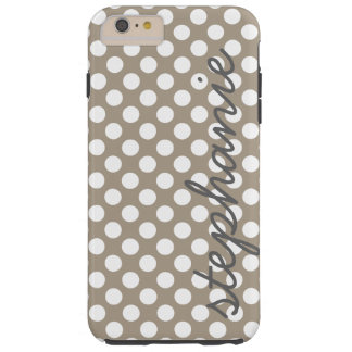 Trendy Polka Dot Pattern with personalized name Tough iPhone 6 Plus Case