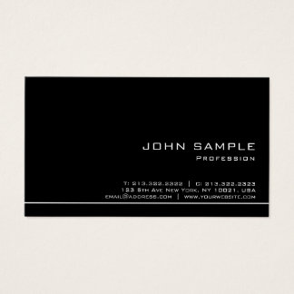 Trendy Professional Modern Black White Semi Gloss Business Card
