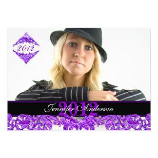 Trendy purple flourish Graduation Invitation