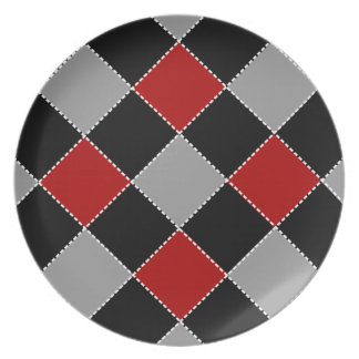Trendy Red Black Gray Argyle Kitchen Collection Plate