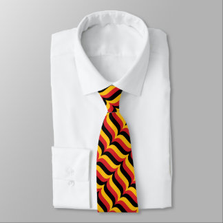 Trendy Red Gold and Black Wavy Stripes Pattern Tie