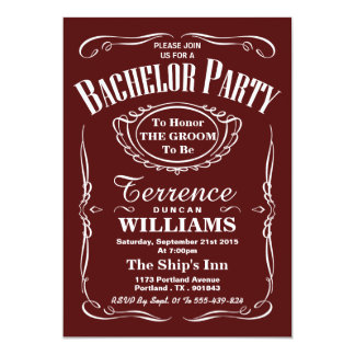 Trendy Red Typography Bachelor Party Card