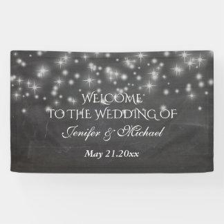 Trendy romantic sparkles chalkboard wedding banner